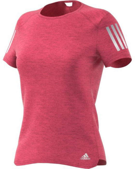 Футболка для бега женская Adidas Rs Soft Tee W, цвет: розовый. BQ3576. Размер M (46/48)BQ3576Женская футболка для бега Adidas изготовлена из полиэстера. Модель с круглым вырезом горловины и короткими рукавами, дополненасветоотражающими полосками. Легкая ткань climalite® отводит излишки влаги от кожи, сохраняя ощущение сухости и свежести. Модель полностью повторяет все твои движения.
