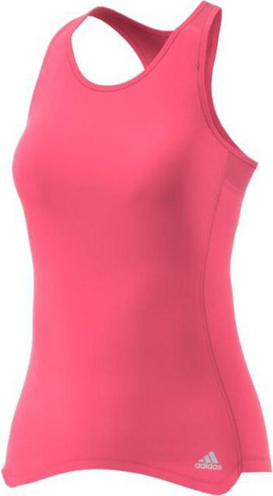 Майка для бега женская Adidas Rs Cup Tnk W, цвет: розовый. BQ3598. Размер M (46/48)BQ3598Удобная женская майка Adidas, выполненная из полиэстера, гарантирует комфорт во время длительных забегов в жаркие дни. Ткань с технологией climalite® отводит излишки влаги от тела, сохраняя комфортное ощущение сухости. Майка-борцовка с круглым вырезом горловины дополнена светоотражающим логотипом бренда.