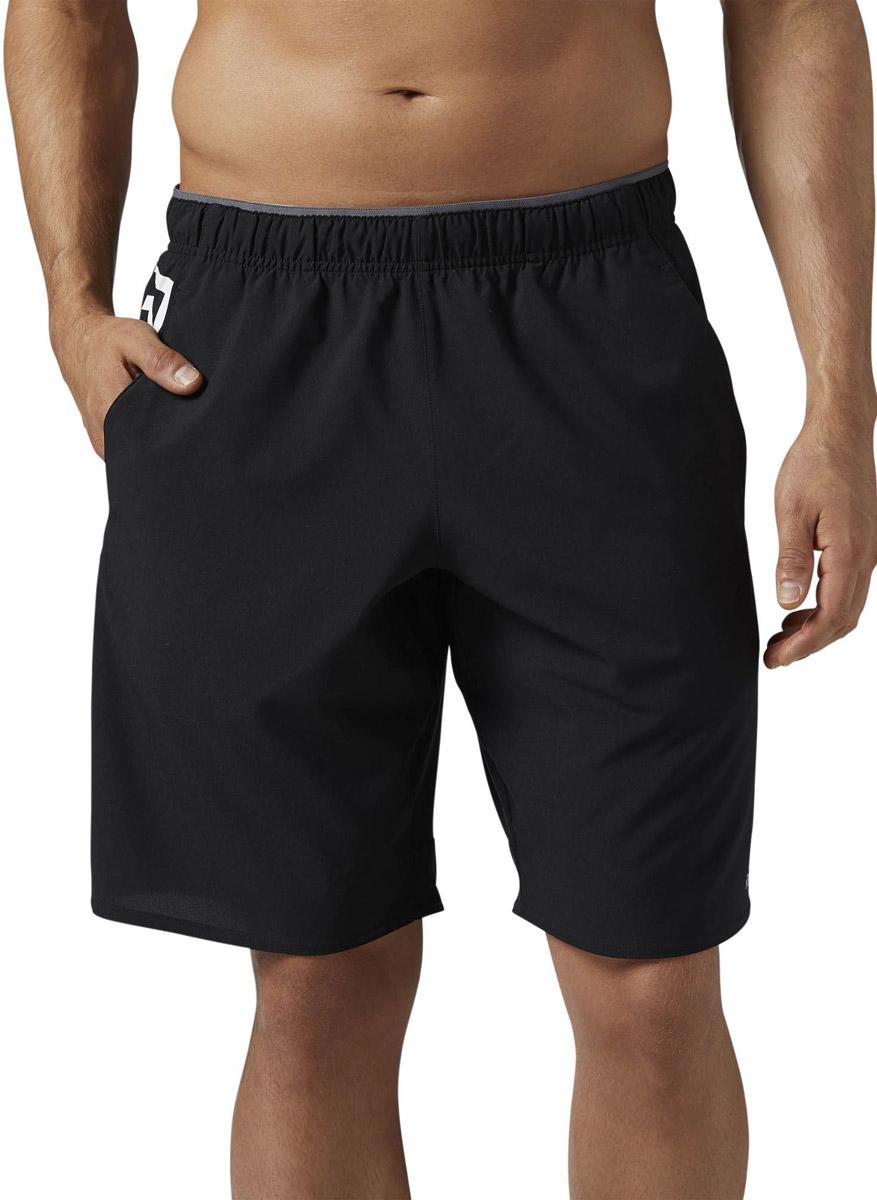 Шорты для фитнеса мужские Reebok Wor Wv Graph Short, цвет: черный, белый. BQ3686. Размер XL (56/58) весенние куртки reebok мужские