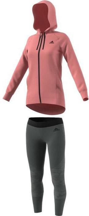 Костюм спортивный женский Adidas Pes Hoody&Tight, цвет: розовый, серый. BQ8379. Размер XL (52/54)BQ8379Женский спортивный костюм adidasвключает в себя толстовку и леггинсы. Толстовка с длинными рукавами застегивается спереди на молнию. Модель изготовлена из высококачественного материала. Толстовка с капюшоном и удлиненной спинкой дополнена двумя прорезными карманами спереди. Манжеты дополнены широкой эластичной резинкой. Леггинсы дополнены тисненым логотипом бренда.