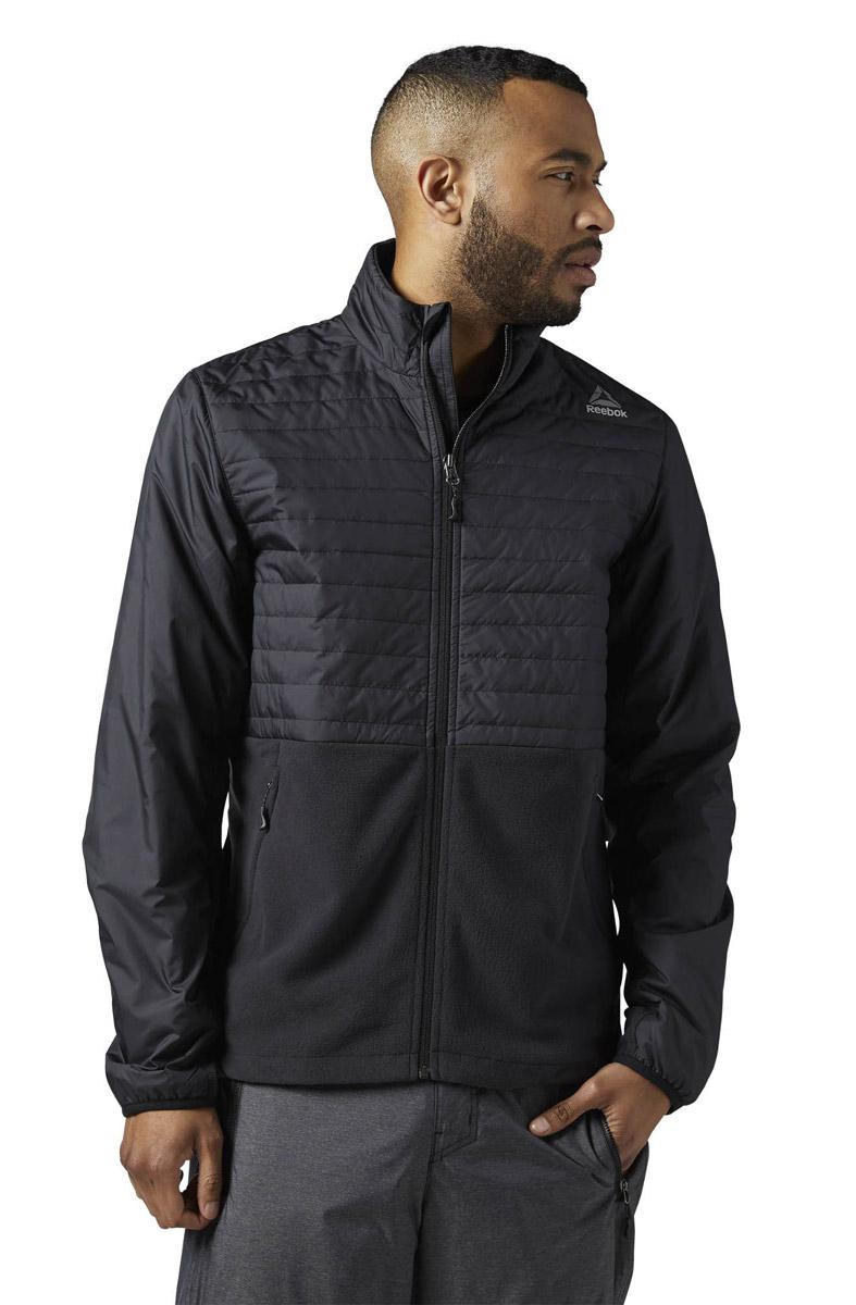 Куртка мужская Reebok Od Cmb Flc Jckt, цвет: черный. BR0457. Размер XL (56/58)BR0457Мужская куртка Reebok выполнена из полиэстера и дополнена флисовыми вставками. Высокий воротник и эластичные манжеты для защиты от непогоды и оптимальной посадки. Модель застегивается на застежку-молнию. Спереди расположено два прорезных кармана на молниях. Куртка дополнена логотипом бренда.