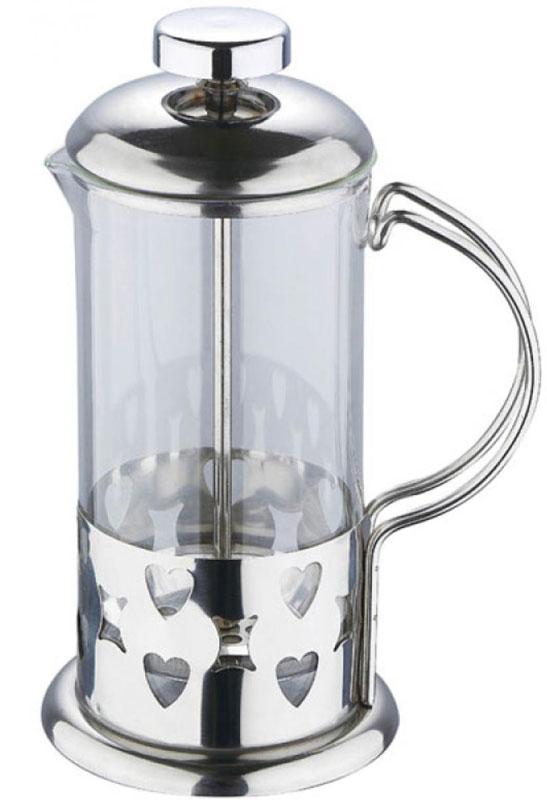 Френч-пресс Wellberg, 800 мл. 6982 WB6982 WBФренч-пресс Wellberg Геометрия, выполненный из нержавеющей стали, поможет приготовить вкусный ароматный чай или кофе. Колба изготовлена из термостойкого стекла, которое выдерживает температуру до 120°С. Изделие дополнено перфорацией в виде геометрических фигур. Утолщенный ободок колбы повышает прочность и продлевает срок службы изделия. Форма края носика препятствует образованию подтеков. Плотно прилегающая крышка позволяет надолго сохранить аромат напитка. Стальной фильтр-поршень обеспечивает равномерную циркуляцию воды и насыщенность напитка. С его помощью также можно регулировать степень крепости напитка. Засыпая чайную заварку или кофе под фильтр, заливая горячей водой, вы получаете ароматный напиток с оптимальной крепостью и насыщенностью. Остановить процесс заваривания легко, для этого нужно просто опустить поршень, и все уйдет вниз, оставляя вверху напиток, готовый к употреблению.Высота френч-пресса: 19 см. Диаметр колбы (по верхнему краю): 9 см. Диаметр основания: 10,5 см.