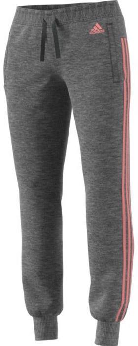 Брюки спортивные женские Adidas Ess 3s Pant Ch, цвет: серый, розовый. BR2504. Размер XXL (56/58)BR2504Женские спортивные брюки Adidas, выполненные из натурального хлопка с добавлением полиэстера, великолепно подойдут для отдыха и занятий спортом. Модель дополнена широкими эластичными резинками на поясе и по низу брючин. Объем талии регулируется с внешней стороны при помощи шнурка-кулиски. Культовые три полоски по бокам создают актуальный образ. Спереди имеются два прорезных кармана.
