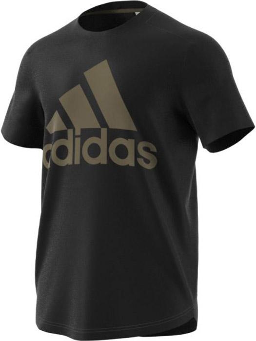 Футболка мужская Adidas Id Bos Tee, цвет: черный, коричневый. BR4056. Размер XXL (60/62)BR4056Комфортная мужская футболка от Adidas с короткими рукавами и круглым вырезом горловины выполнена из высококачественного материала. Благодаря втачным рукавам спереди, которые переходят в рукава реглан сзади, эта мужская футболка обеспечивает максимальную свободу движений. Модель оформлена спереди логотипом бренда.