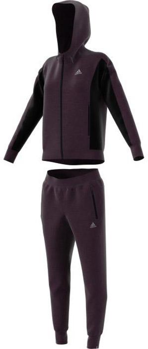 Костюм спортивный женский Adidas Game Time Ts, цвет: фиолетовый, черный. BS2610. Размер S (42/44)BS2610Женский спортивный костюм adidas включает в себя ветровку и спортивные брюки. Ветровка с длинными рукавами застегивается спереди на молнию. Модель изготовлена из высококачественного полиэстера. Ветровка с капюшоном дополнена двумя карманами спереди на застежках-молниях. Манжеты дополнены широкой эластичной резинкой. Спортивные брюки выполнены из полиэстера. Модель имеет широкую эластичную резинку на поясе. По бокам - врезные карманы. Низ штанин дополнен мягкими манжетами.