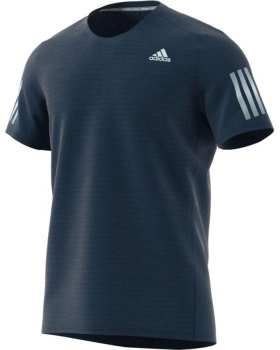 Футболка для бега мужская Adidas Rs Ss Tee M, цвет: синий. BS3273. Размер L (52/54)BS3273Мужская футболка для бега Adidas изготовлена из полиэстера. Модель с круглым вырезом горловины и короткими рукавами, дополненасветоотражающими полосками.