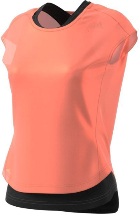 Футболка 2 в 1 для бега женская Adidas Tko 2 Layer W, цвет: розовый, черный. CF0935. Размер XL (52/54)CF0935Удобная женская футболка Adidas, выполненная из полиэстера, состоит из майки - борцовки, футболки с короткими рукавами и круглым вырезом горловины. Ткань с технологией climalite® отводит излишки влаги от тела, сохраняя комфортное ощущение сухости. Модель дополнена светоотражающими элементами.