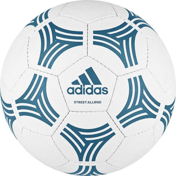 Мяч футбольный Adidas Tango Allround, цвет: белый, синий. BP7773. Размер 5BP7773МячAdidas Tango Allround с ручной сшивкой панелей обеспечивает мягкий контакт и высокую прочность в любых условиях.Камера из латекса.Перед использованием требуется накачать камеру.