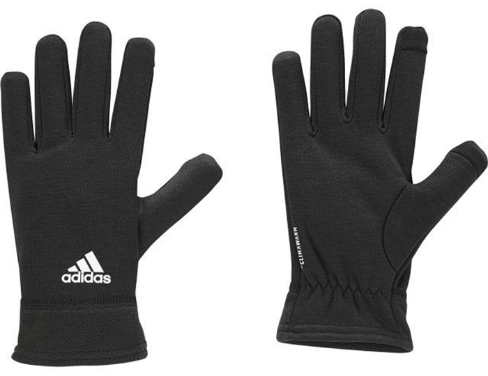 Перчатки для фитнеса Adidas Clmwm Flc Gl, цвет: черный. BR0725. Размер 22BR0725Мягкие и легкие перчатки Adidas защитят вас от холода и непогоды во время интенсивной тренировки. Технология ClimaWarm способствует быстрому выведению влаги с поверхности тела. Модель оформлена логотипом бренда.Выделяйтесь из толпы благодаря стильному дизайну перчаток.