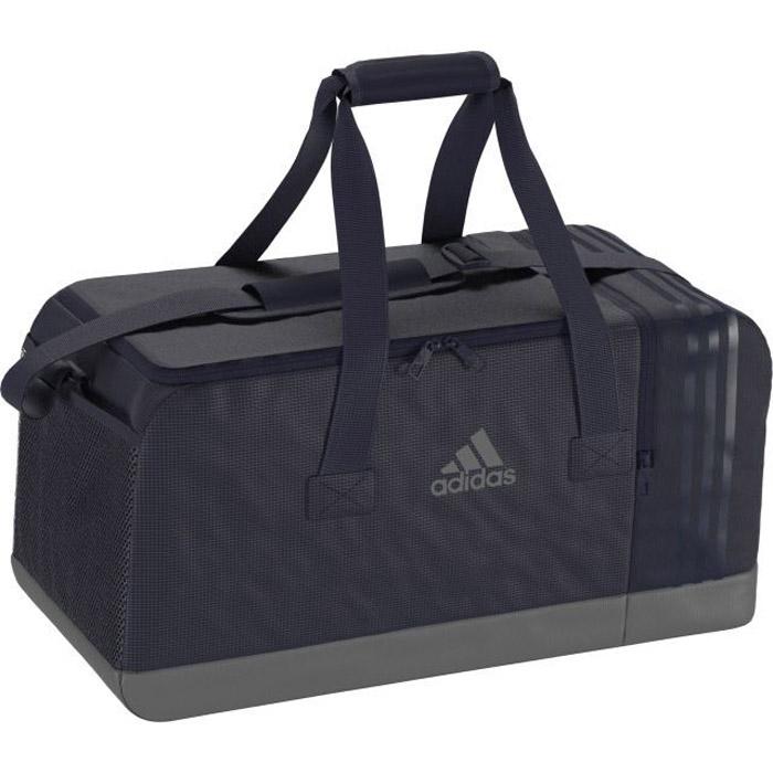 Сумка Adidas 3S Per Tb M, цвет: темно-синий. BR5148BR5148Возьми с собой есть все необходимое для эффективной тренировки в зале или на стадионе. Спортивная сумка Adidas 3S Per Tb M среднего размера с вентилируемым отделением для обуви дополнена внутренними карманами для идеального порядка. Благодаря мягкой ручке и наплечному ремню ее очень удобно носить. ..U-образное основное отделение на молнии для быстрого доступа к вещам; два внутренних кармана; боковой карман из сетки; внутренний карман на молнии; вентилируемое отделение для обуви.Регулируемый наплечный ремень с мягкой подушечкой; мягкая ручка-петля для переноски.Износостойкая нижняя часть с покрытием из термополиуретана.Три полоски в тон на отделении для обуви; логотип adidas на лицевой стороне.Размеры: 27 см х 29 см х 60 см.100% полиэстер.