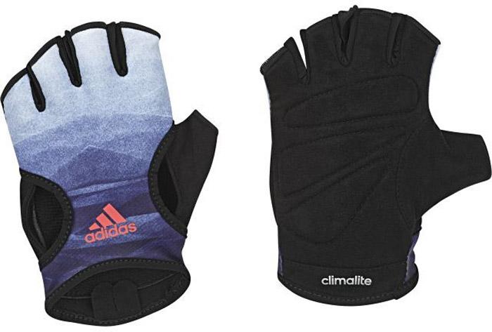 Перчатки для фитнеса Adidas Clite Glov W, цвет: черный, синий. BR6750. Размер 22BR6750Тренируйся эффективнее в спортивных перчатках Adidas. Модель без пальцев сшита из отводящей влагу ткани с мягкой замшевой подкладкой для дополнительного комфорта. Упругие вставки на ладонях для плотного и удобного сцепления с грифом штанги и петелька между пальцами для быстрого снимания. Ткань с технологией climalite® быстро и эффективно отводит влагу с поверхности кожи, поддерживая комфортный микроклимат.