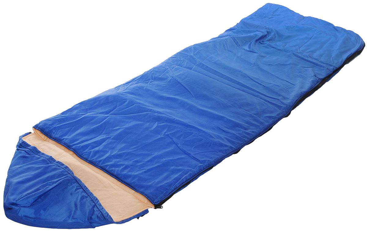 Спальный мешок Onlitop Престиж, цвет: синий, бежевый, правосторонняя молния. 13440271344027_синий, бежевыйКомфортный, просторный и очень теплый 3-х сезонный спальник Onlitop Престиж предназначен для походов и для отдыха на природе не только в летнее время, но и в прохладные дни весенне-осеннего периода. В теплое время спальный мешок можно использовать как одеяло (в том числе и дома). Он выполнен из качественных материалов - синтепона, ситца и таффеты, которые обладают достойными теплоизоляционными характеристиками и очень прочны, что сделало спальный мешок весьма долговечным. Длина мешка - 2,25 м, его ширина - 70 см, это позволяет разместиться в нем человеку практически любой комплекции. Этому спальнику всегда найдется применение среди любителей активного отдыха, а места в сложенном виде он занимает мало.Что взять с собой в поход?. Статья OZON Гид