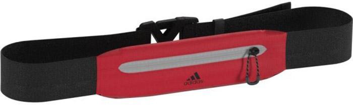 Сумка на пояс Adidas Run Belt, цвет: черный, красный. BR7228BR7228Сумка Adidas R G Belt для бега позволит взять с собой самые необходимые вещи и не испортит силуэт. Карман на молнии хорошо растягивается, а ремень регулируется по фигуре. Модель украшена контрастным логотипом adidas. Финальный штрих - светоотражающие детали. Карман на молнии.Регулируемый ремень с пряжкой.Эластичная ткань.Светоотражающие детали.Трикотаж: 80% нейлон / 20% эластан.Размеры: 5,5 см. x 20см.