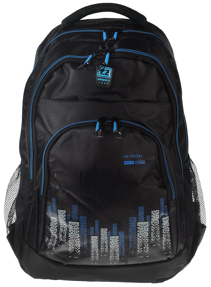 Рюкзак городской мужской Grizzly, цвет: черный, синий. RU-722-1RU-722-1Рюкзак Grizzly - это красивый и удобный рюкзак, который подойдет всем, кто хочет разнообразить свои будни. Рюкзак выполнен из плотного материала с оригинальным принтом. Рюкзак содержит два вместительных отделения, каждое из которых закрывается на молнию. Внутри первого отделения имеется открытый накладной карман, на стенке которого расположился врезной карман на молнии. Внутри второго отделения расположены два открытых накладных кармана и два кармашка под канцелярские принадлежности. Снаружи, по бокам изделия, расположены два сетчатых кармана. Лицевая сторона дополнена двумя вместительными карманами на молниях. Рюкзак оснащен мягкой укрепленной ручкой для переноски, петлей для подвешивания и двумя практичными лямками регулируемой длины. У лямок имеется нагрудная стяжка-фиксатор. Практичный рюкзак станет незаменимым аксессуаром и вместит в себя все необходимое.