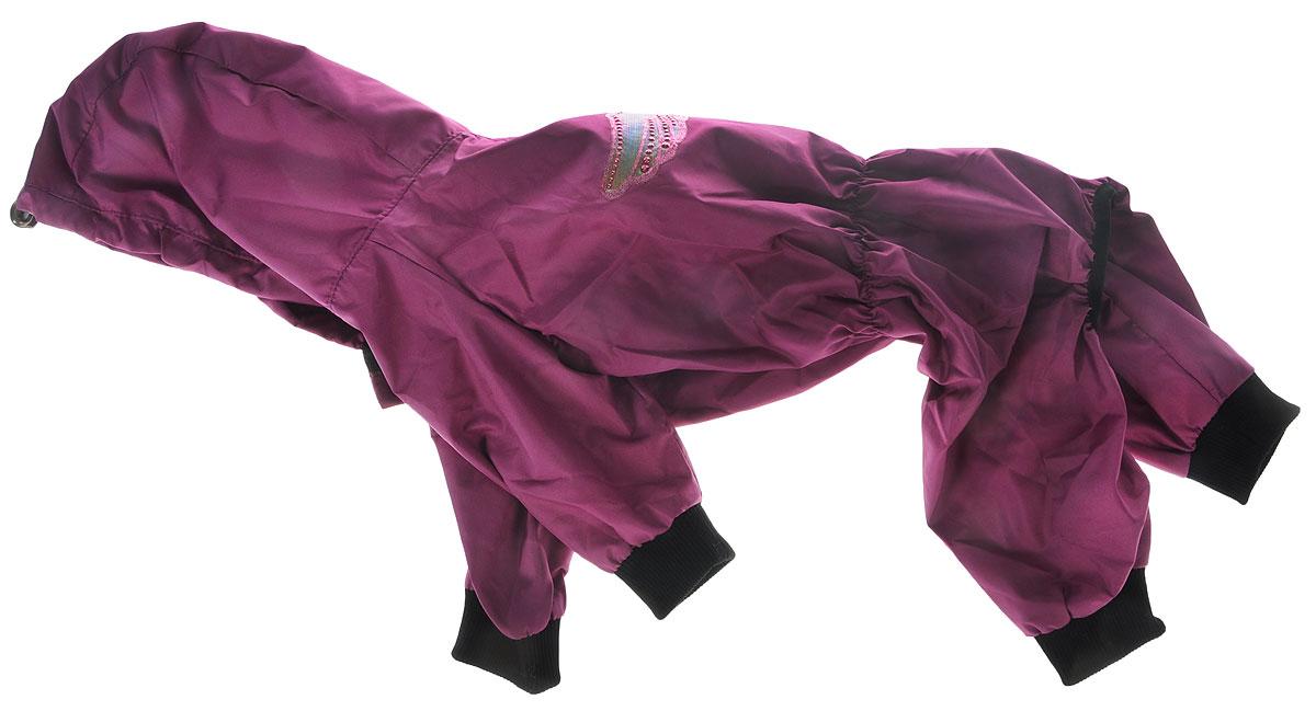 Дождевик прогулочный для собак GLG Крылья, цвет: фиолетовый. Размер XLMOS-016_фиолетовыйПрогулочный дождевик для собак GLG Крылья выполнен из высококачественного текстиля разной текстуры. Рукава не ограничивают свободу движений, и собачка будет чувствовать себя в ней комфортно. Изделие застегивается с помощью кнопок.Изделие оформлено декоративной нашивкой.Модная и невероятно удобный непромокаемый дождевик защитит вашего питомца от дождя и насекомых на улице, согреет дома или на даче.