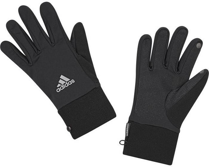 Перчатки для фитнеса Adidas Run Clmwm Glove, цвет: черный. S94191. Размер 24S94191Мягкие и легкие перчатки Adidas защитят вас от холода и непогоды во время интенсивной тренировки. Технология ClimaWarm способствует быстрому выведению влаги с поверхности тела. Модель оформлена логотипом бренда.Выделяйтесь из толпы благодаря стильному дизайну перчаток.