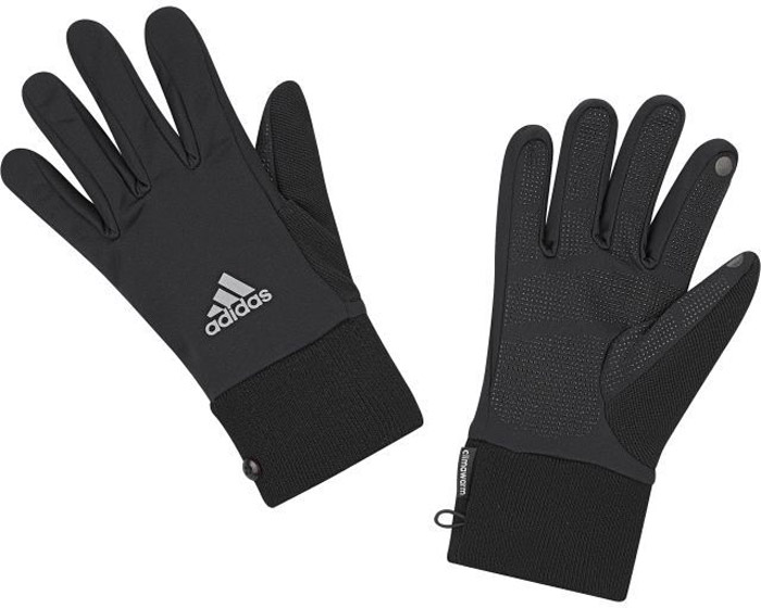 Перчатки для фитнеса Adidas Run Clmwm Glove, цвет: черный. S94191. Размер 18S94191Мягкие и легкие перчатки Adidas защитят вас от холода и непогоды во время интенсивной тренировки. Технология ClimaWarm способствует быстрому выведению влаги с поверхности тела. Модель оформлена логотипом бренда.Выделяйтесь из толпы благодаря стильному дизайну перчаток.