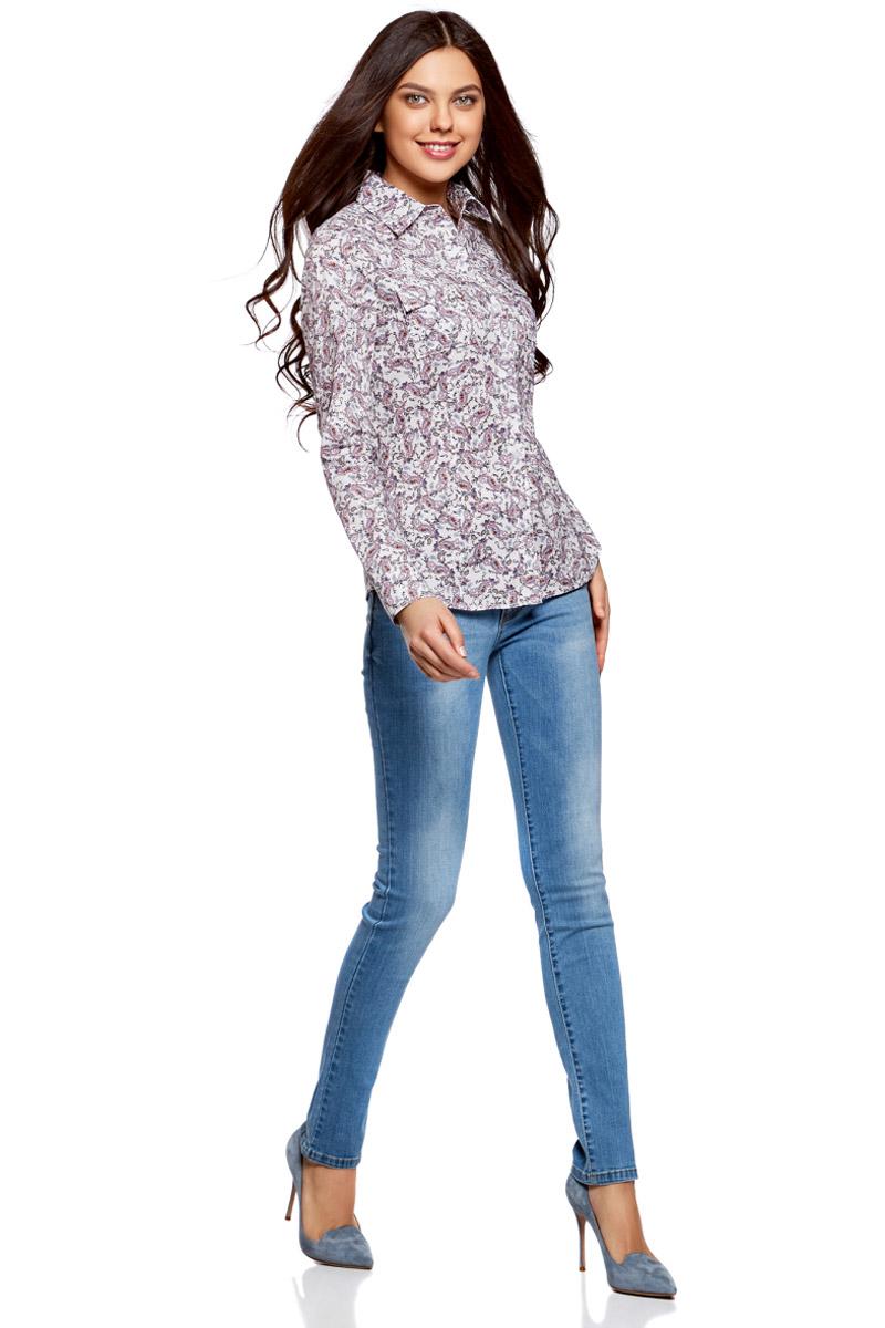 Купить Рубашка женская oodji Ultra, цвет: белый, темно-бежевый. 11442121-5B/43609/1235E. Размер 34-170 (40-170)