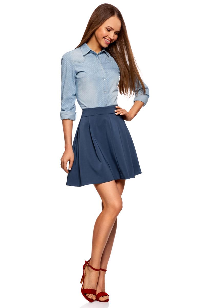 Юбка oodji Ultra, цвет: синий. 11600396-1/43102/7500N. Размер 40-170 (46-170) пуловеры oodji пуловер