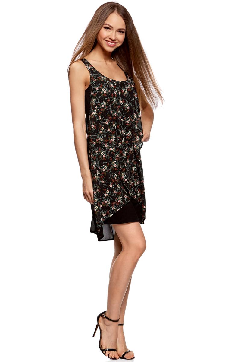Платье oodji Ultra, цвет: черный, розовый. 11911017/35271/2941F. Размер 38-170 (44-170)11911017/35271/2941FПлатье многослойное oodji изготовлено из комбинированной ткани. Модель выполнена без рукавов и с глубоким круглым вырезом.