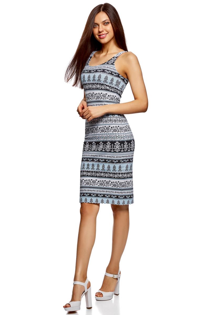 Платье oodji Ultra, цвет: ментоловый, белый. 14015007-2/47420/6510E. Размер S (44)14015007-2/47420/6510EЛегкое обтягивающее платье oodji Ultra, выгодно подчеркивающее достоинства фигуры, выполнено из качественного эластичного хлопка. Модель миди-длины с круглым вырезом горловины и узкими бретелями дополнена разрезом на юбке с задней стороны.