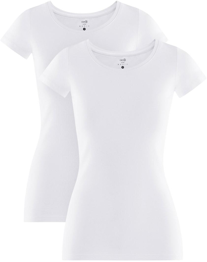 Футболка женская oodji Ultra, цвет: белый, 2 шт. 14701005T2/46147/1000N. Размер S (44)14701005T2/46147/1000NКомплект из двух базовых футболок. Футболки приталенного силуэта красиво смотрятся на любой фигуре. Ткань из хлопка с небольшим добавлением эластана дышит, тянется, комфортна для тела, после стирок хорошо держит форму. В такой футболке ваши движения не стеснены. Набор из двух базовых футболок – практичное решение для тех, кто ценит удобство.