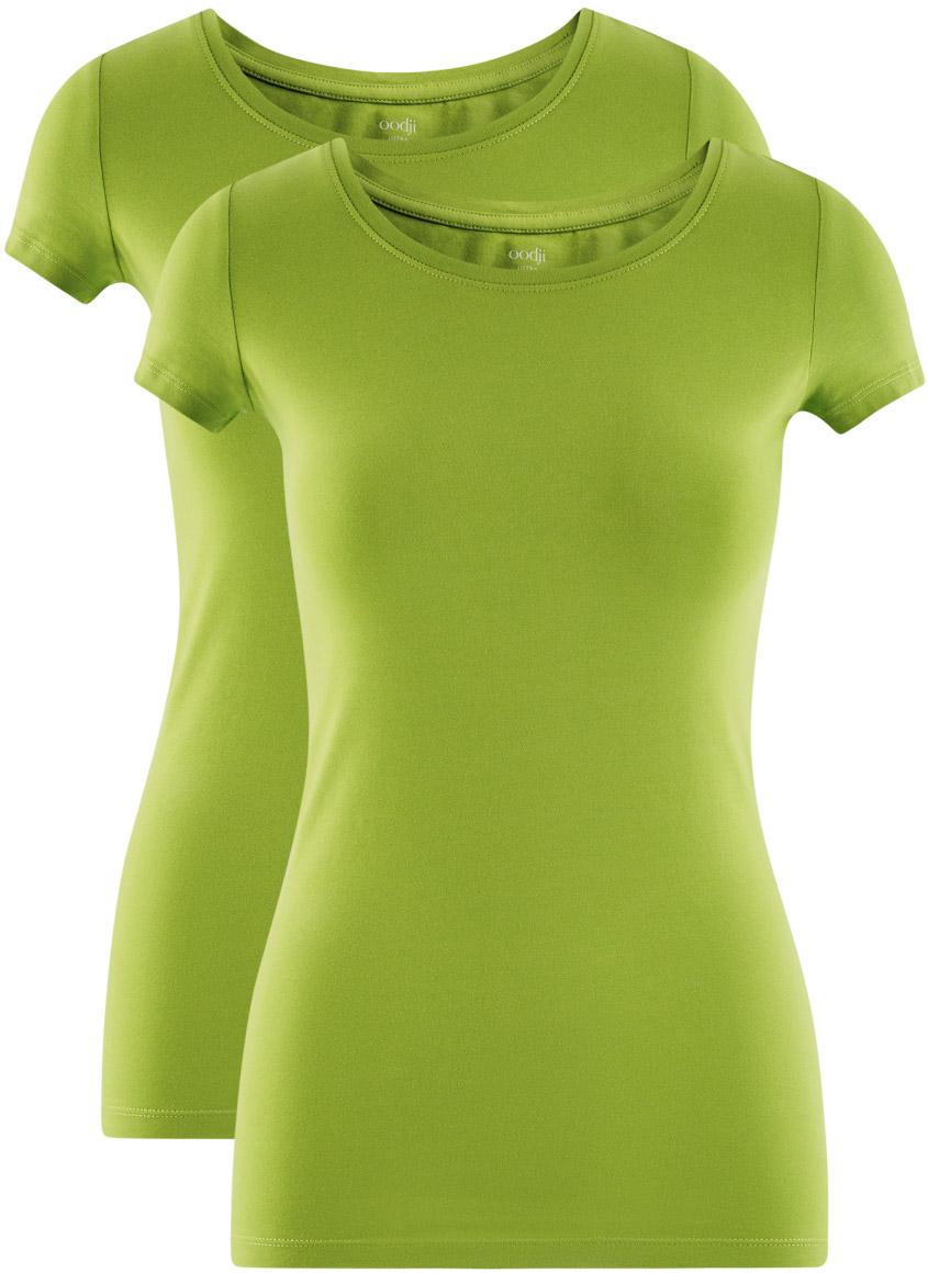 Футболка женская oodji Ultra, цвет: зеленый, 2 шт. 14701005T2/46147/6B00N. Размер L (48)14701005T2/46147/6B00NКомплект из двух базовых футболок. Футболки приталенного силуэта красиво смотрятся на любой фигуре. Ткань из хлопка с небольшим добавлением эластана дышит, тянется, комфортна для тела, после стирок хорошо держит форму. В такой футболке ваши движения не стеснены. Набор из двух базовых футболок – практичное решение для тех, кто ценит удобство.