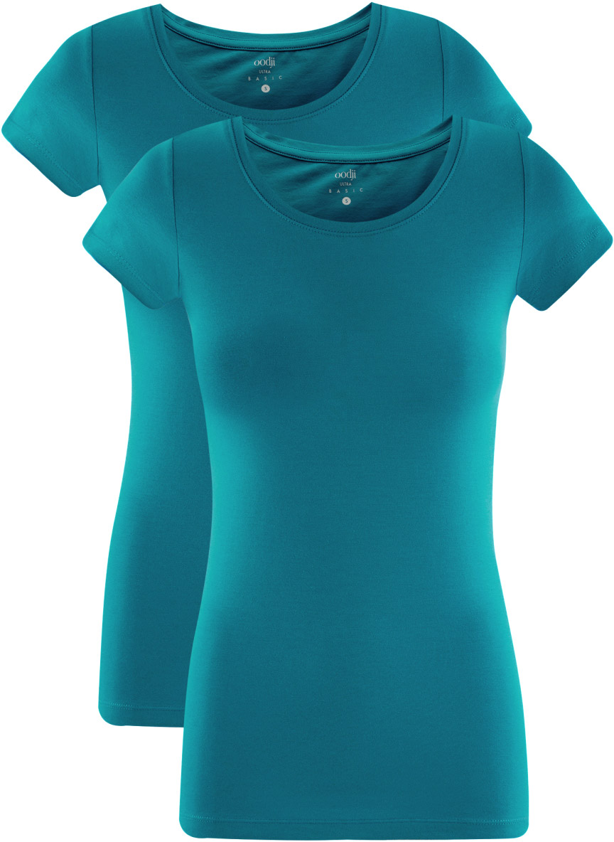 Футболка женская oodji Ultra, цвет: морская волна, 2 шт. 14701005T2/46147/6C00N. Размер XXS (40)14701005T2/46147/6C00NКомплект из двух базовых футболок. Футболки приталенного силуэта красиво смотрятся на любой фигуре. Ткань из хлопка с небольшим добавлением эластана дышит, тянется, комфортна для тела, после стирок хорошо держит форму. В такой футболке ваши движения не стеснены. Набор из двух базовых футболок – практичное решение для тех, кто ценит удобство.