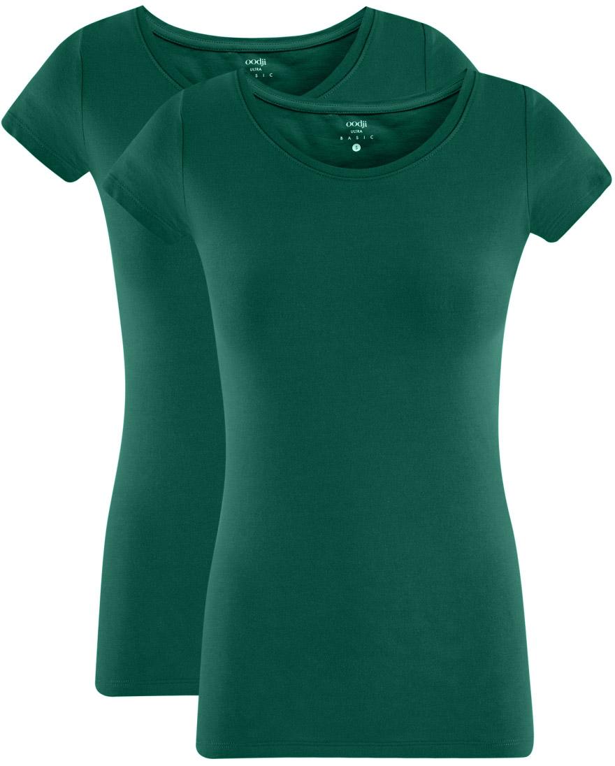 Футболка женская oodji Ultra, цвет: темно-изумрудный, 2 шт. 14701005T2/46147/6E00N. Размер L (48)14701005T2/46147/6E00NЖенская футболка oodji Ultra выполнена из эластичного хлопка. Модель с круглым вырезом горловины и стандартными короткими рукавами.Комплект из двух футболок - практичное решение для тех, кто ценит удобство. Такая футболка станет основой для создания стильного спортивного комплекта. В ней можно заниматься спортом, гулять с домашним питомцем. Ее удобно носить в качестве домашней одежды. Футболки хорошо сочетаются с трикотажными спортивными брюками, шортами, бриджами, юбками.Прекрасная модель для самых разных случаев!