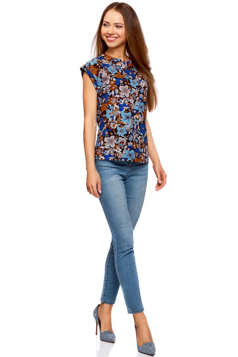 Футболка женская oodji Ultra, цвет: черный, голубой. 14707001-25/46154/2970F. Размер M (46) футболка oodji футболка