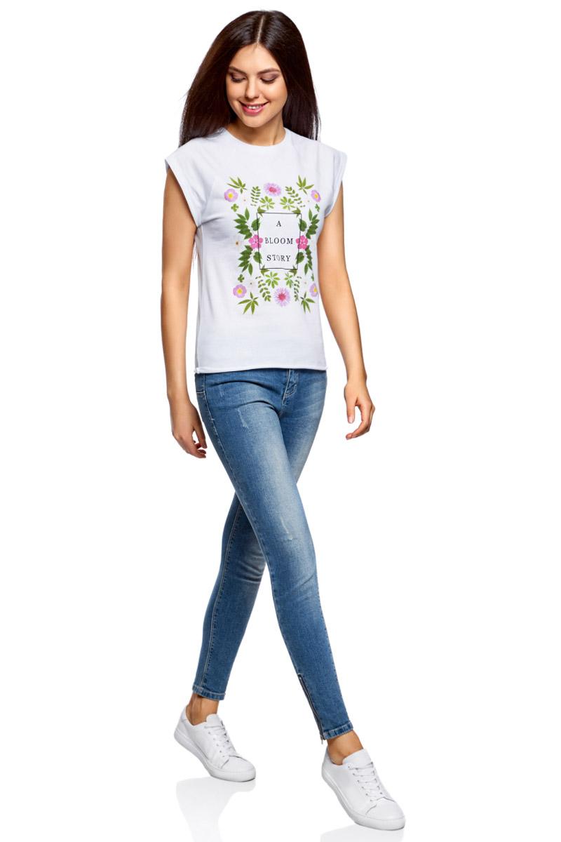 Футболка женская oodji Ultra, цвет: белый. 14707001-31/46154/1019P. Размер XL (50) футболка oodji футболка