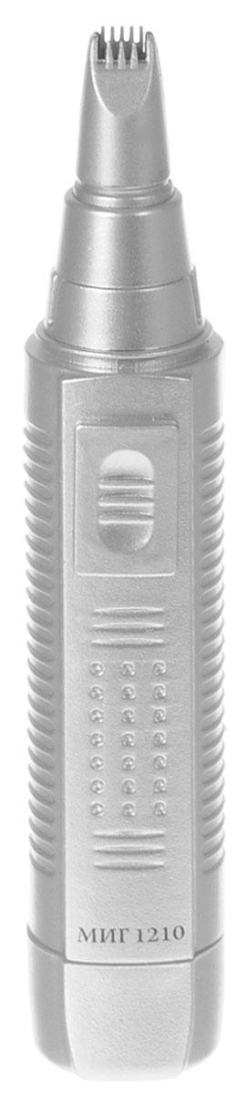 МИГ 1210 триммер для носа и ушей1210Триммер МИГ 1210 предназначен для удаления волос в носу, в ушах и на висках. Прибор имеет компактные размеры и вес. В комплект входят две насадки. Питание - 1,5 В (1 элемент питания тип АА- в комплект не входит). Не моющийся.