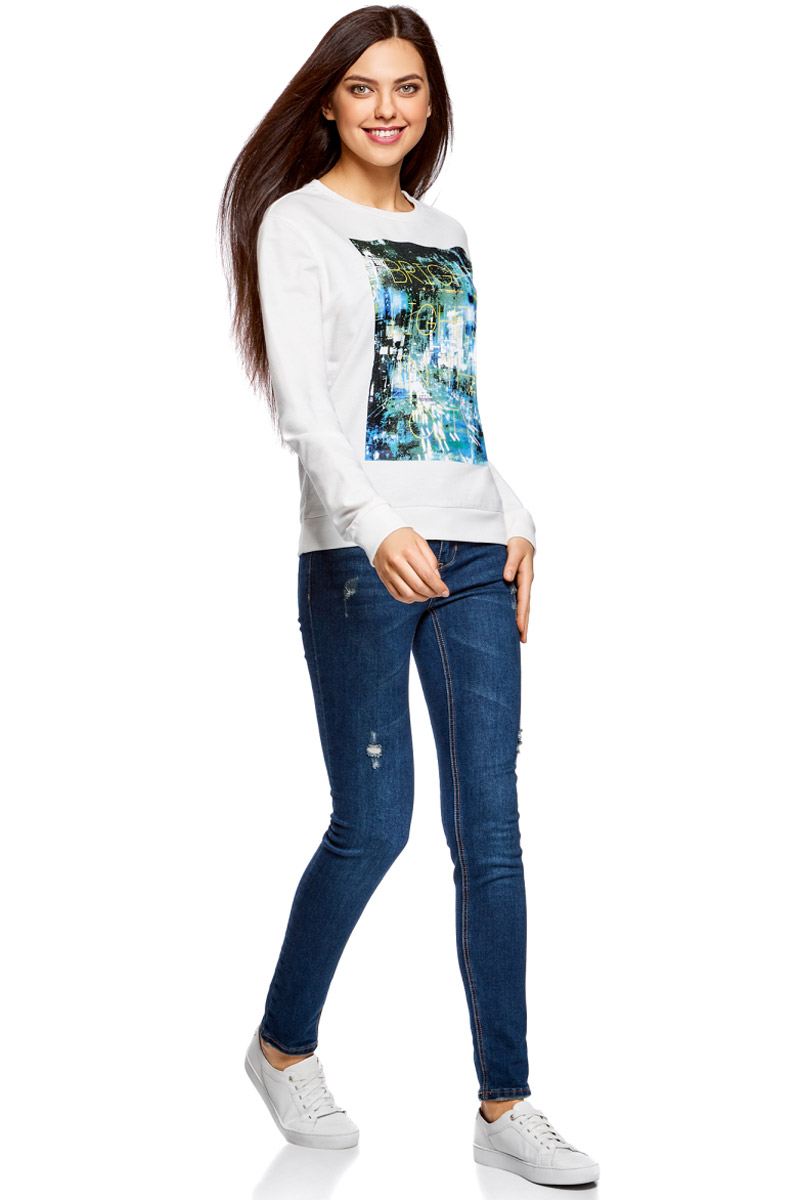 Свитшот женский oodji Ultra, цвет: белый, мультиколор. 14808015-6/46151/1219P. Размер XL (50)