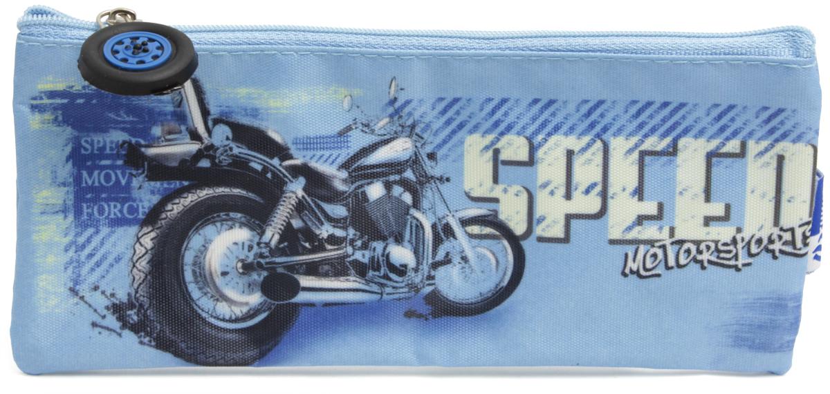 Феникс+ Пенал Мотоцикл цвет синий34741Пенал школьный без наполнения.Размер: 20,5x3x6 см.Материал: атлас.Застежка: нейлон.Фигурная собачка.