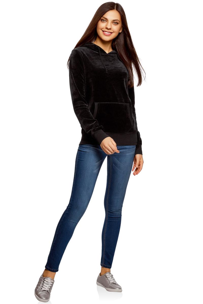 Худи женское oodji Ultra, цвет: черный. 15401001B/47883/2900N. Размер L (48) платье oodji ultra цвет черный 14015017 1b 48470 2900n размер l 48