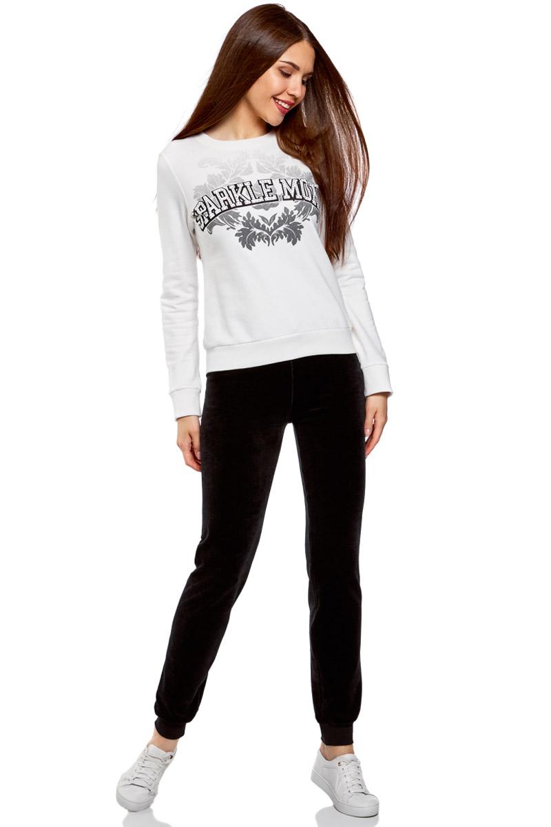 Брюки спортивные женские oodji Ultra, цвет: черный. 16701051B/47883/2900N. Размер XS (42) брюки спортивные женские oodji ultra цвет темно изумрудный 16701052b 47883 6e00n размер xs 42