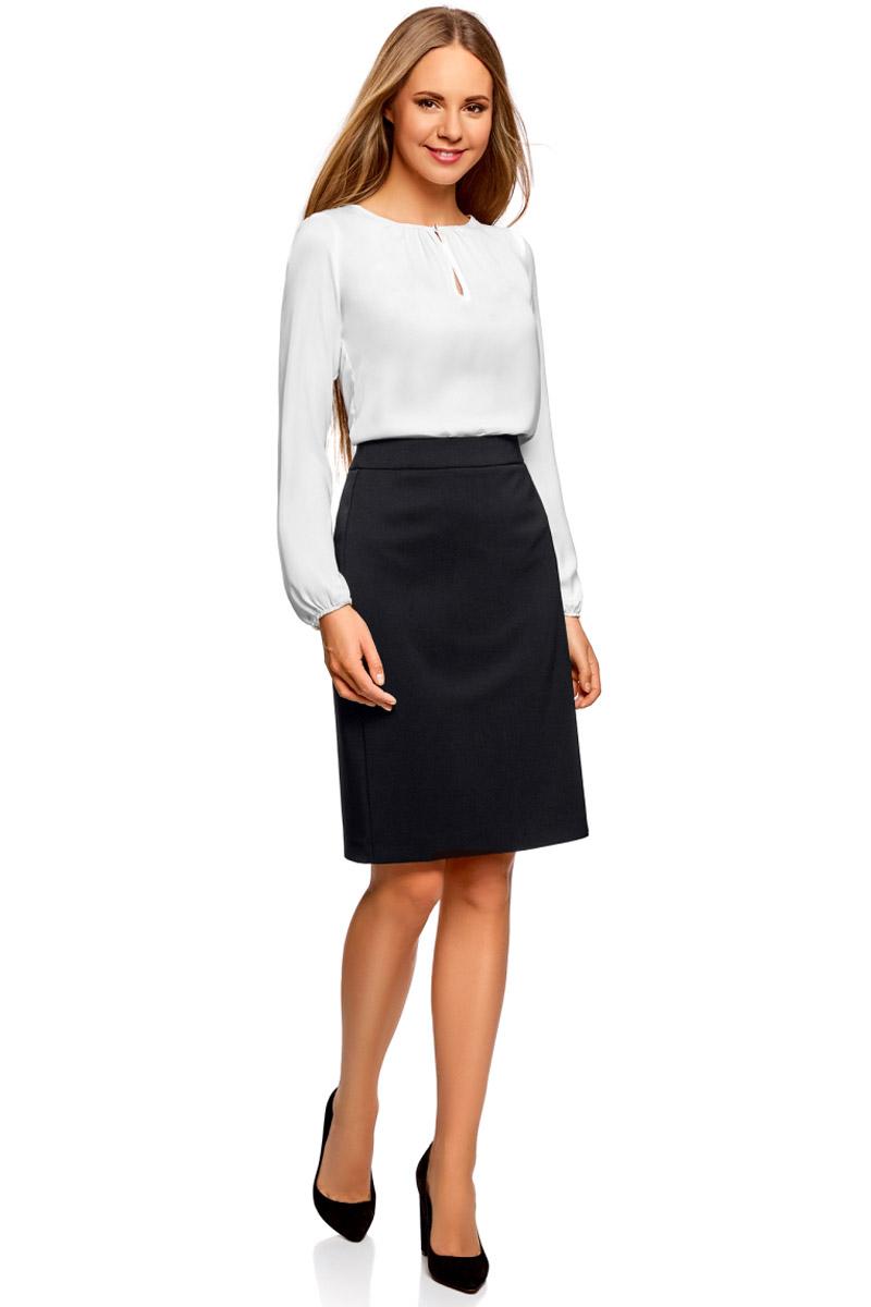 Юбка oodji Collection, цвет: черный. 21601254-6/43135/2900N. Размер 42-170 (48-170) платье oodji collection цвет черный белый 24001104 1 35477 1079s размер l 48