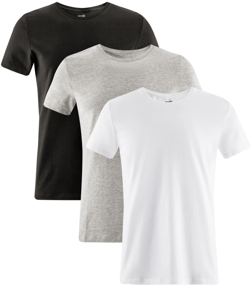 Футболка мужская oodji Basic, цвет: черный, серый, белый, 3 шт. 5B611004T3/46737N/1907N. Размер M (50)5B611004T3/46737N/1907NМужская базовая футболка от oodji выполнена из эластичного хлопкового трикотажа. Модель с короткими рукавами и круглым вырезом горловины. В комплекте 3 футболки.