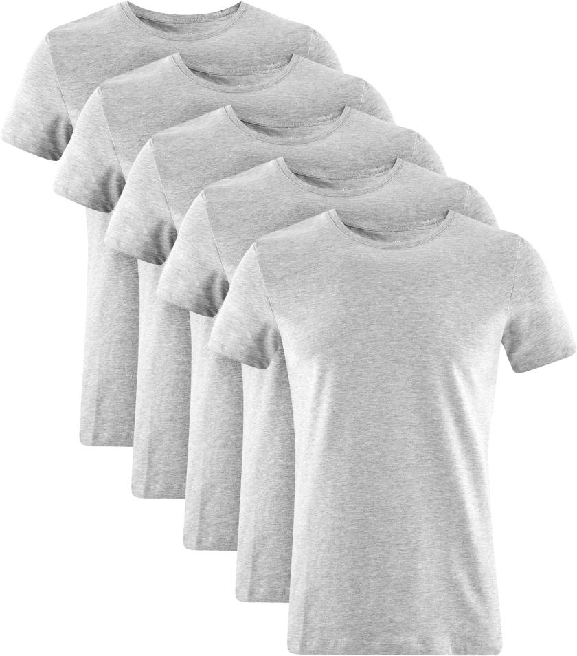 Футболка мужская oodji Basic, цвет: серый меланж, 5 шт. 5B611004T5/46737N/2300M. Размер XXL (58/60)5B611004T5/46737N/2300MМужская базовая футболка от oodji выполнена из эластичного хлопкового трикотажа. Модель с короткими рукавами и круглым вырезом горловины. В комплекте 5 футболок.