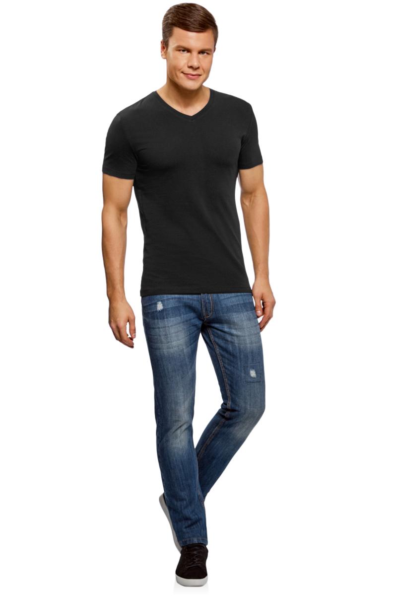 Футболка мужская oodji Basic, цвет: черный. 5B612002M/46737N/2900N. Размер XS (44)5B612002M/46737N/2900NБазовая футболка с V-образным вырезом горловины и короткими рукавами выполнена из эластичного хлопка.