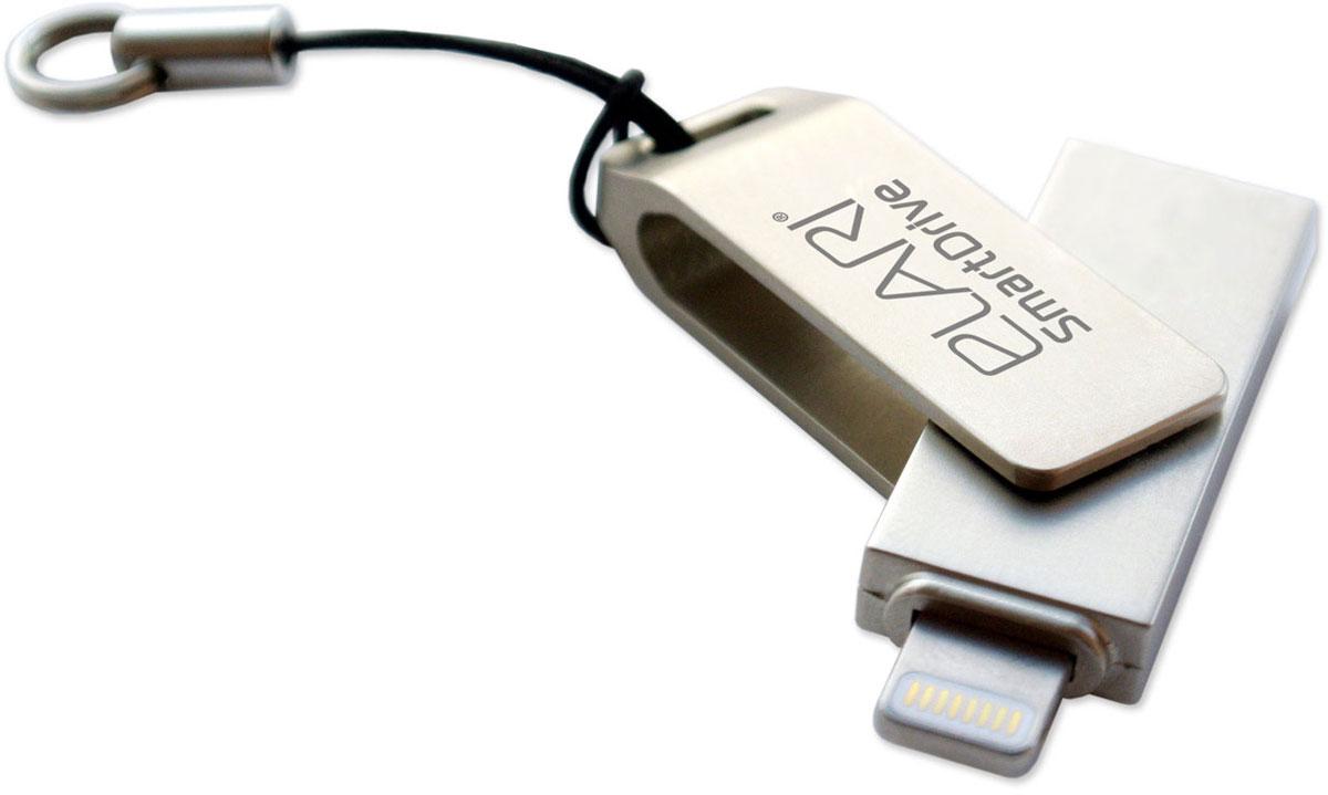 Elari SmartDrive 64GB, флеш-накопительElariSmartDrive64GBElari SmartDrive - стильный и компактный внешний накопитель. Он предназначен для хранения и воспроизведения видеозаписей, фотографий, документов. Поддерживает множество различных форматов.Флеш-накопитель способен передавать информацию без необходимости преобразования или синхронизации между устройствами с операционной системой iOS и Mac/PC.Металлический складной корпус флешки защитит ее от повреждений, тем самым продлит срок службы девайса. Простой лаконичный дизайн придется по душе всем любителям строгих форм и минимализма в дизайне. Elari SmartDrive совместим не только с iOS (версии от 7 и выше) и Mac OS X, но также со всеми версиями Windows и Linux.