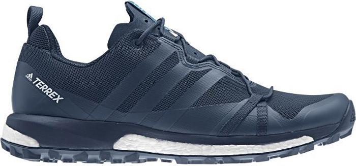 Кроссовки трекинговые мужские Adidas Terrex Agravic, цвет: синий. S80840. Размер 10,5 (44)S80840Покоряйте горы и развивайте выносливость в кроссовках для трейлраннинга Adidas Terrex Agravic. Верх выполнен из текстиля и сетки с износостойкой вставкой для дополнительной защиты и прочности, он образует плотно облегающую конструкцию для оптимальной посадки. Язычок из EVA имеет дополнительную перфорацию для оптимального комфорта.Амортизация boost с бесконечным возвратом энергии и легкий верх позволяют поддерживать скорость на сложном рельефе.Дышащая многослойная подкладка из сетки.Подошва из резины Continental, выполненная по мотивам покрышек Continental Trail King для горных велосипедов, обеспечивает отличное сцепление с поверхностью даже во влажную погоду.