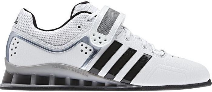 Штангетки Adidas Adipower Weightlift, цвет: белый, черный. M25733. Размер 11 (44,5)M25733Штангетки Adidas Adipower Weightlift - идеальная обувь для занятий тяжелой атлетикой. Материал верха выполнен из износоустойчивой искусственной кожи, внутреннее оформление - дышащий текстиль. плотная шнуровка и регулируемый ремешок на липучке, перфорация на мысе. На подъеме фиксируются шнуровкой и хлястиком с липучкой.