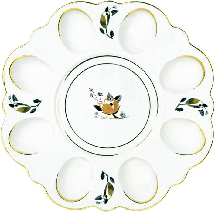 Блюдо для яиц Фарфор Вербилок Ветка. 26352330УП26352330УПБлюдо для яиц и кулича Фарфор Вербилок Ветка станет прекрасным подарком на Пасху и гармонично дополнит сервировку праздничного стола. Блюдо изготовлено из высококачественного фарфора и оформлено ярким рисунком и позолотой. От качества посуды зависит не только вкус еды, но и здоровье человека. Блюдо для яиц Фарфор Вербилок - товар, соответствующий российским стандартам качества. Любой хозяйке будет приятно держать его в руках. С такой посудой сервировка стола превратится в настоящий праздник.