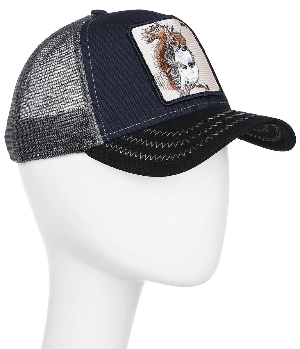 Бейсболка Goorin Brothers, цвет: черный, синий, серый. 16-985-06-00. Размер универсальный16-985-06-00Стильная бейсболка Goorin Brothers, выполненная из высококачественных материалов, идеально подойдет для прогулок, занятия спортом и отдыха. Она надежно защитит вас от солнца и ветра. Классическая кепка с сетчатой задней частью станет правильным выбором. Изделие оформлено нашивкой с изображением белки и надписью Nuts. Объем бейсболки регулируется пластиковым фиксатором.Ничто не говорит о настоящем любителе путешествий больше, чем любимая кепка. Эта модель станет отличным аксессуаром и дополнит ваш повседневный образ.