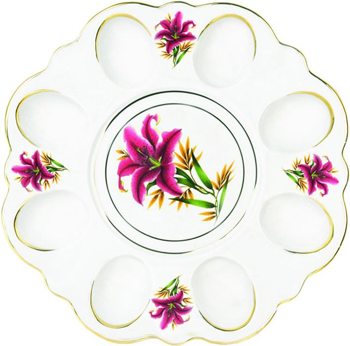 Блюдо для яиц Фарфор Вербилок Розовая лилия. 26351990УП26351990УПБлюдо для яиц и кулича Фарфор Вербилок Розовая лилия станет прекрасным подарком на Пасху и гармонично дополнит сервировку праздничного стола. Блюдо изготовлено из высококачественного фарфора и оформлено ярким рисунком и позолотой. От качества посуды зависит не только вкус еды, но и здоровье человека. Блюдо для яиц Фарфор Вербилок - товар, соответствующий российским стандартам качества. Любой хозяйке будет приятно держать его в руках. С такой посудой сервировка стола превратится в настоящий праздник.