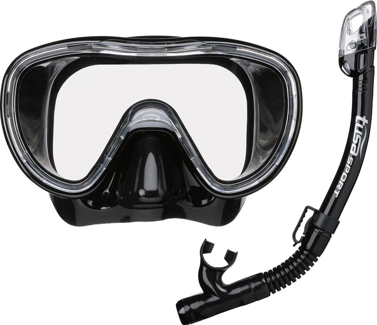 Детский комплект для плавания Tusa Sport, цвет: черный. UCR1126 BK/BKUCR1126 BK/BKКомплект маска+трубка TUSA Sport UCR-1126• Одностекольная маска с панорамным обзором.• Закаленное безопасное стекло Tempered Glass.• Пряжки ремешка маски закреплены непосредственно на силиконовом обтюраторе, что позволяет комфортно адаптировать положение ремешка под любую форму головы.• Трубка оснащена запатентованным сухим верхним клапаном Hyperdry Elite, который предотвращает попадание воды в трубку при погружении под воду.• В нижнем сегменте трубки расположена дренажная камера с клапаном Hyperdry, через который вода легко удаляется из трубки.• Гофрированный силиконовый нижний сегмент позволяет комфортно подвести загубник трубки ко рту.• Орто-загубник снижает нагрузку на челюстные мышцы.• Трубка крепится на ремешок маски быстросъемным зажимом.• Обтюратор и ремешок маски, загубник и гофрированный сегмент трубки изготовлены из 100% гипоаллергенного силикона.• Компактные размеры маски и трубки хорошо подходят подросткам и взрослым с лицами средних размеров.• Цвета: BK/BK (черный с черным силиконом), LB (голубой с прозрачным силиконом)