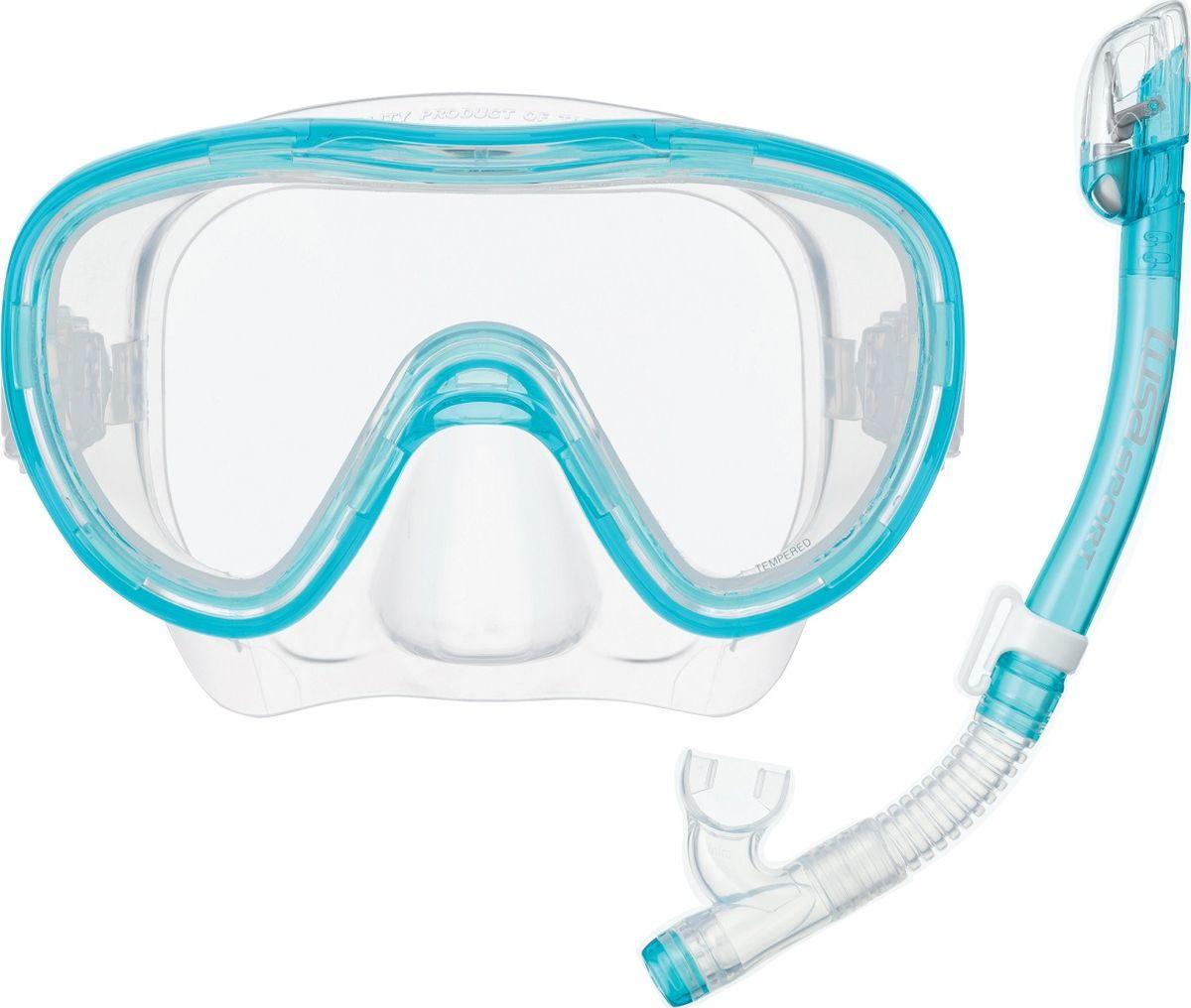 Детский комплект для плавания Tusa Sport, цвет: бирюзовый. UCR1126 LBUCR1126 LBКомплект маска+трубка TUSA Sport UCR-1126• Одностекольная маска с панорамным обзором.• Закаленное безопасное стекло Tempered Glass.• Пряжки ремешка маски закреплены непосредственно на силиконовом обтюраторе, что позволяет комфортно адаптировать положение ремешка под любую форму головы.• Трубка оснащена запатентованным сухим верхним клапаном Hyperdry Elite, который предотвращает попадание воды в трубку при погружении под воду.• В нижнем сегменте трубки расположена дренажная камера с клапаном Hyperdry, через который вода легко удаляется из трубки.• Гофрированный силиконовый нижний сегмент позволяет комфортно подвести загубник трубки ко рту.• Орто-загубник снижает нагрузку на челюстные мышцы.• Трубка крепится на ремешок маски быстросъемным зажимом.• Обтюратор и ремешок маски, загубник и гофрированный сегмент трубки изготовлены из 100% гипоаллергенного силикона.• Компактные размеры маски и трубки хорошо подходят подросткам и взрослым с лицами средних размеров.• Цвета: BK/BK (черный с черным силиконом), LB (голубой с прозрачным силиконом)