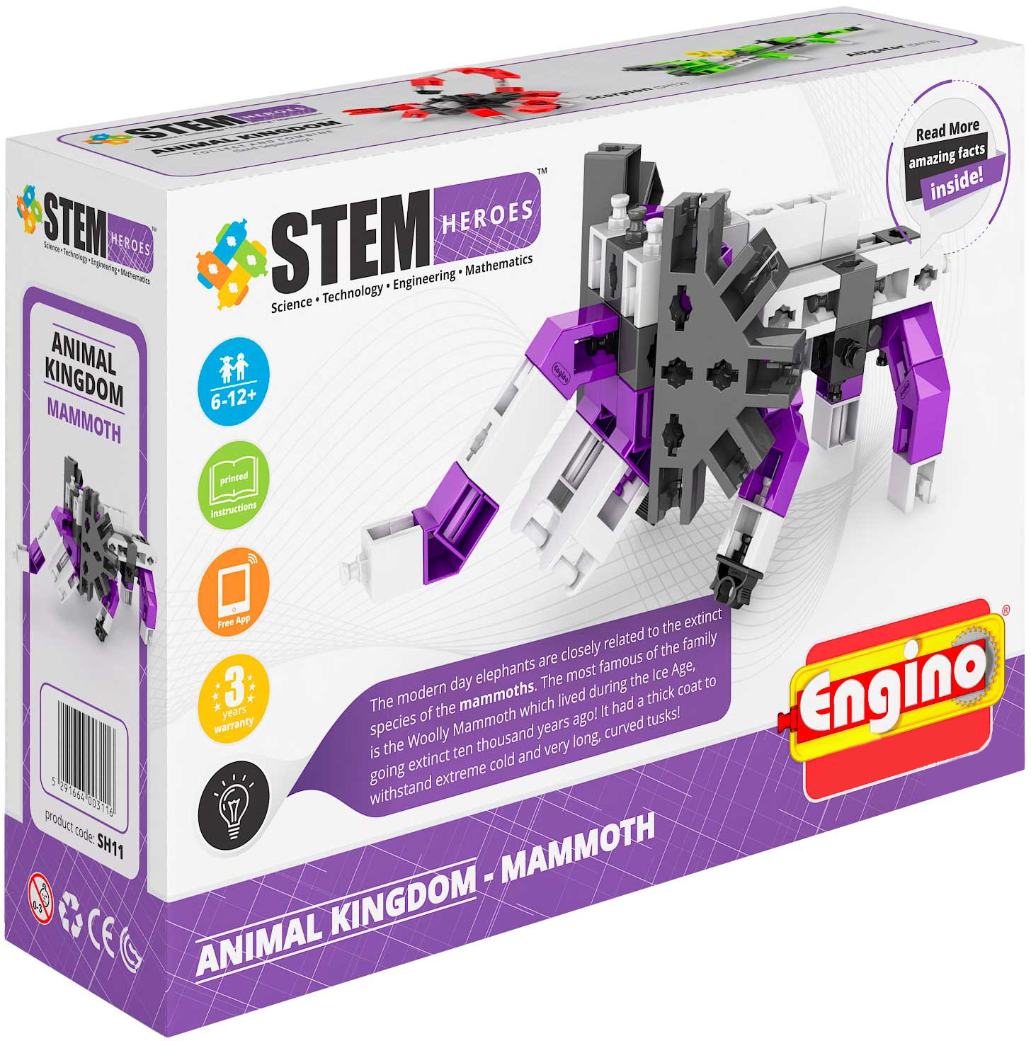 Engino Конструктор Stem Heroes Мир животных Мамонт 52 элемента