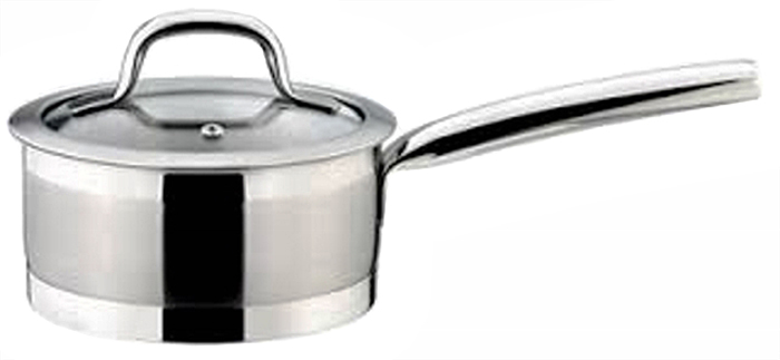 """Роскошный ковш Tescoma """"President"""" премиум класса с крышкой. Изготовлен из нержавеющей стали высочайшего качества 18/10, очень толстым многослойным дном и шкалой для измерения. Подходит для всех типов плит: газовых, электрических, керамических и индукции. Можно мыть в посудомоечной машине."""